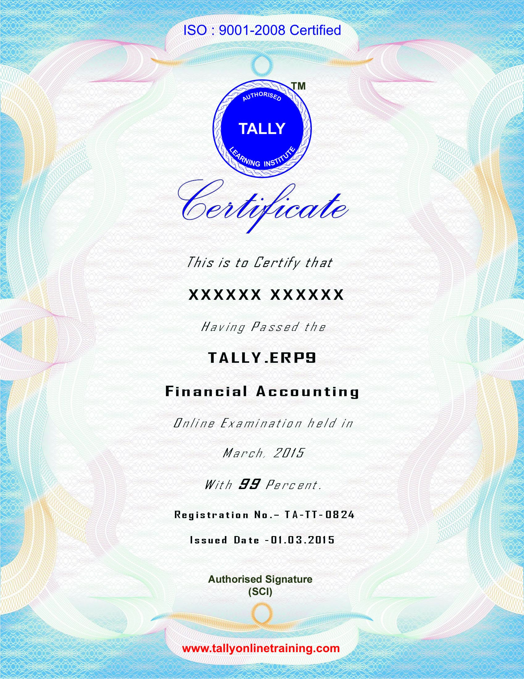 Tally Online Test Certificate