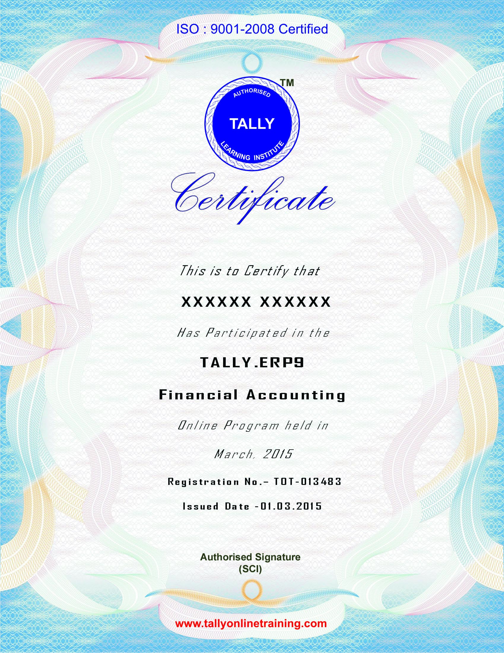 Tally.ERP 9 Online Training Certificate